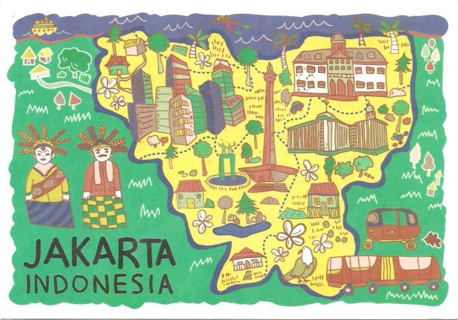 Peta Jakarta, Postcard by Lestari, Unknown Year. Used, Dated 3 July 2015. Thank to Neny
